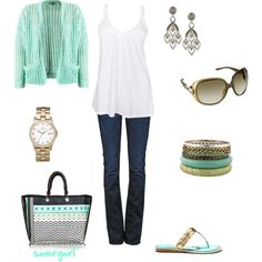 Aqua with interesting purse :)