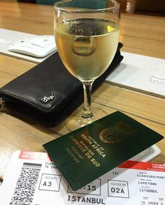 And we are off...but first some vino #travel #fly #turkishairlines #passport #boardingpass #capetown #istanbul #businessclass #wine #2a by toothdocmartin