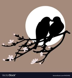 Two birds on a brunch on a gray circle background Vogel Silhouette, Bird Silhouette Art, Bird Stencil, Stencil Art, Clay Wall Art, Canvas Wall Art, Bird Art, Vector Art, Amazing Art