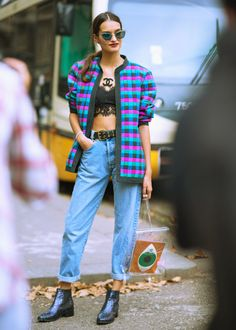 Gizele Oliveira - Topshop Top, American Apparel Backpack, Poppy Lissiman Clutch, Kurt Geiger Boots - MFW miss Chanel