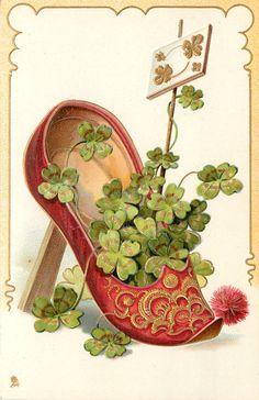 Full Sized Image: red slipper with fancy pattern on front, containing 4 leaf clovers Saint Patrick, Vintage Greeting Cards, Vintage Postcards, Vintage Images, St Paddys Day, St Patricks Day, Irish Images, St Patrick's Day Decorations, Red Slippers