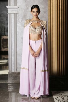 bisouNYC - Lavender Bustier with Cape and Pants Dress Indian Style, Indian Dresses, Indian Wedding Outfits, Indian Outfits, Indian Attire, Indian Wear, Indian Designer Outfits, Designer Dresses, India Moderna