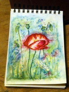 Poppy - Derwent inktense and graphix line painters