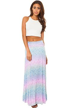 The For All of This Zig Zag Maxi Skirt in Purple Multi by Style Hunter
