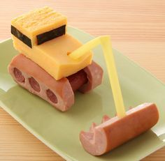 WIENER SHOVEL BOBCAT  Cut cheese chunk, straw, wieners, pretzel rods (or smokie sausages) & IMAGINATION