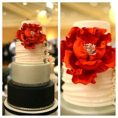 Trendsspotting: black and white wedding cake with bling and a red peony. Made by Cake Couture