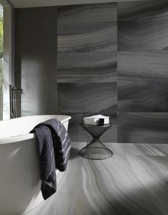 O que um bom revestimento nao faz em um simples banheiro... ! ( www.portobello.com.br/blog/seupost/colecao-les-roches )