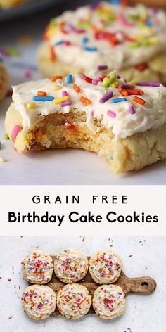 Incredible, soft grain free birthday cake cookies made with a mix of coconut flour and almond flour and topped with a luscious vanilla buttercream. These easy, healthier birthday cake cookies are gluten free and low carb but are full of that delicious birthday cake flavor you know and love. #birthdaycake #cookies #funfetti #cakebatter #grainfree #glutenfree #baking