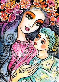 EvitaWorks..Mother and child art motherhood art print folk art mothers love nursery art print 5x7
