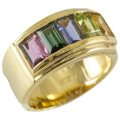 18K Multi Gemstone Band Ring | From a unique collection of vintage band rings at https://www.1stdibs.com/jewelry/rings/band-rings/
