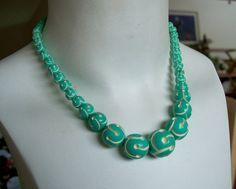 Vintage Carved Galalith Bead Necklace by OldTreazureTrunk on Etsy, $42.00