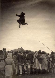 Blanket toss at the Nalukataq Festival (c. 1895)