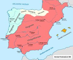 map of the gothic empire - Google Search Historical Pictures, Historical Maps, European History, Ancient History, Map Of Spain, Royal Family Trees, Dna Genealogy, Iberian Peninsula, Early Middle Ages