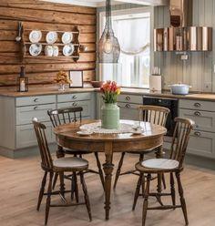 Farmhouse Kitchen Tables, Slab Dining, Round Kitchen Table, Kitchen Remodel, Cottage Inspiration, Modern Kitchen, Cottage Kitchen, Kitchen Room Design, Minimalist Kitchen