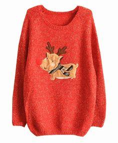 Christmas Deer Raglan Sleeves Pullover - Knitwear - Clothing