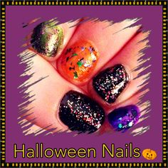 Halloween Manicure  Colors Used:   WET N WILDE: Sage in the city  SINFUL COLORS: Cloud 9 Let's talk Cauldron couture Pumpkin spice Mystery moonshine I love you Starry night
