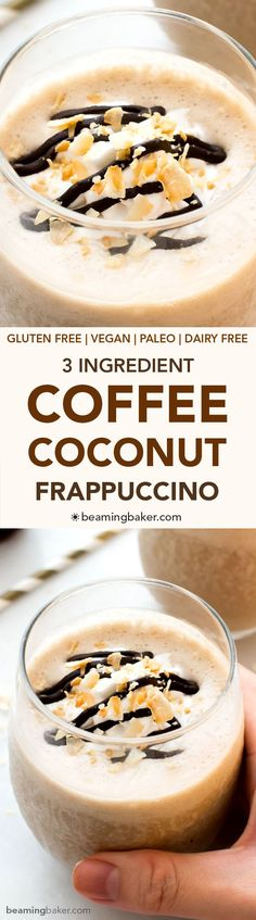 Coffee Coconut Frappuccino (V GF): a 3 ingredient recipe for deliciously thick, creamy frappes bursting with coffee and coconut flavor.… Coffee Coconut Frappuccino (V Dairy Free Recipes, Paleo Recipes, Whole Food Recipes, Cooking Recipes, Gluten Free, Yummy Drinks, Healthy Drinks, Healthy Snacks, Yummy Food