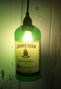 Repurposed JAMESON Irish Whiskey bottle HANGING LAMP by SongbirdandTwig via Etsy
