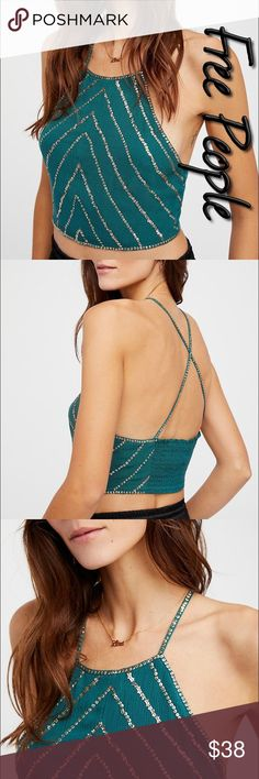 Free People Stars Align Brami NWT S Size S New With Tags retail $60, color emerald with elastic back and gold sequin, goes great with the Free People Emerald lace maxi, in another listing Free People Intimates & Sleepwear Bras
