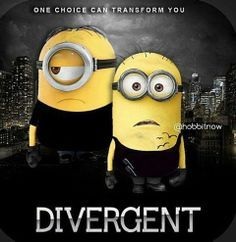 Divergent Minions Im laughing way too hard at this. The Tobias minion is perfect Divergent Fandom, Divergent Trilogy, Divergent Insurgent Allegiant, Divergent Party, Tfios, Amor Minions, Minions Love, Funny Minion, Minion Humor