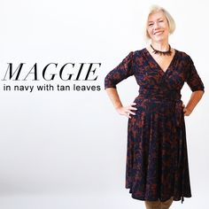 the maggie is just like our megan dress - only with a tie for the waist! his dress features a surplice bodice v-neck, detailed gathers in the back. this knee length dress has a full, swirl skirt. machine wash cool, hang dry, no ironing ever needed! the maggie is an american made dress crafted with love in Brooklyn, NY