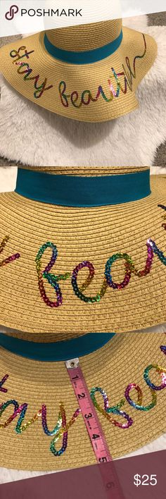 """Floppy Sun Hat Straw beach hat """"Stay Beautiful"""" in rainbow sequins on rim Turquoise band Tan/turquoise/rainbow One size Accessories Hats"""