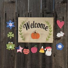 New Interchangeable Welcome Sign online - Alltoclothing Puzzle Jewelry, Custom Return Address Stamp, Dog Treat Jar, Custom Rubber Stamps, Christmas Gift Decorations, Homemade Gifts, Craft Gifts, Wood Crafts, Hand Painted