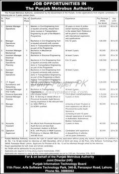 Job Opportunities In The Punjab Metro Bus Authority Lahore  http://www.dailypaperpk.com/jobs/177513/job-opportunities-punjab-metro-bus-authority-lahore
