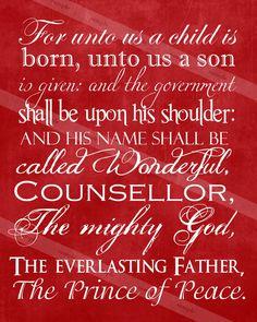 Christmas Print A Child is Born Scripture Jesus Christ. $5.00, via Etsy.