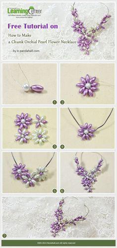 Jak zrobić kawał Orchid Pearl Flower Naszyjnik - crafting na wakacje