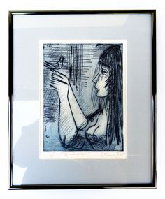 ETIENNE RET AMERICAN MODERNIST COLOR ETCHING OF WOMAN W/WHITE DOVE Mid-Cent