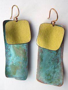 Earrings Dogtag Patina and Yellow Enamel