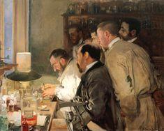 El cuadro Una investigación fue pintado por Joaquín Sorolla el año 1897; la obra realista muestra el estudio del neurólogo Luis Simarro