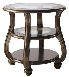 Yexenburg Dark Brown Round End Table