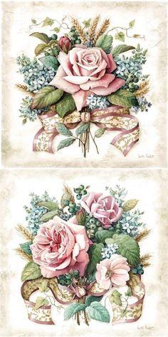 Floral Vintage, Vintage Diy, Shabby Vintage, Vintage Labels, Vintage Cards, Vintage Paper, Vintage Flowers, Vintage Ideas, Decoupage Vintage