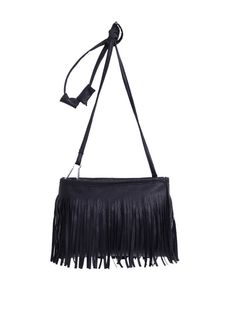 Faux Leather Tassel Crossbody Bag - Black Mobile Site