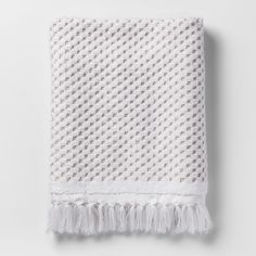 Knotted Fringe Bath Towels White - Threshold™ - image 1 of 1 Hand Towels Bathroom, Bath Towels, Cozy Bathroom, Rental Bathroom, Master Bathroom, White Hand Towels, Target, Decorative Towels, Room Essentials