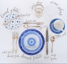 Simple guide for a table setting: the butter knife is wrong (the one shown is for serving the table rather than an individual spreader), but other than that I think this is a great combination of formal and informal place settings. Reception Table, Wedding Table, Wedding Decor, Dinner Table, Wedding Centerpieces, Masquerade Centerpieces, Place Settings, Table Settings, Tables Tableaux