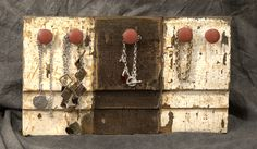 These three corner moulding blocks were joined together and old wooden knobs were painted to contrast with the grunge look. Corner Moulding, Grunge Look, Some Times, Architectural Salvage, Old And New, Repurposed, Contrast, Objects, Display