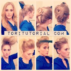 Julianne Hough's Golden Globes Updo: Divide your hair into 3 ponytails. From the crown forward on top, the middle section & sides, & the bottom section. Next, take the middle ponytail & wrap it around in a bun, then continue wrapping the hair down & around the base of the bottom ponytail, like a figure 8 b/w the ponytail bases.  Use bobby pins to pin everything into place.  Don't worry if it is messy at this point.  Take the bottom ponytail & wrap it to form a bun & figure 8 (more @ link)