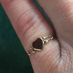 Heart Signet Ring in 14K Yellow Gold Baby or by EstateJewelryMama