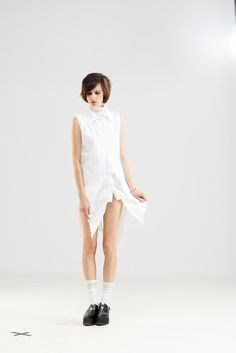 Shirt Dresses – Sleeveless Shirt Dress, Short Dress, White Dress – a unique product by Maria-Queen-Maria via en.DaWanda.com