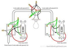 3way switch diagram (power into light) For the Home