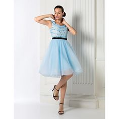 Cocktail Party / Homecoming / Holiday / Prom Dress - Sky Blue Plus Sizes…