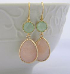 Peach and Mint Dangle Earrings Trimmed in Gold-Drop Earrings-Bridesmaid Gift- Wedding Earrings-Spring Wedding-Jewelry Gift