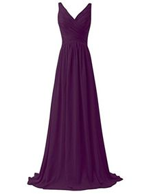 AK Beauty Women's V-Neck Bridesmaid Dresses Long Chiffon Prom Dresses Plum US14. Please see the detail size information in description. If your have doubt on dress size and don't know how to choose correct size,please email Smile Sun your detail size before placing the order,we will be glad to help. Color: There might be a slight difference between the actual dress's color and what you see in the photo depending on your computer monitor's display settings. Please select your size from OUR…