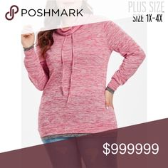 dedb789f80d Plus Size Cowl Neck Two Toned Tee Plus Size Pink Gray Cowl Neck Two Toned  Tee Features  Cowl Drawstring Neck