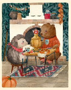 Посмотреть иллюстрацию Богданова Дарья - Ежик и медвежонок.