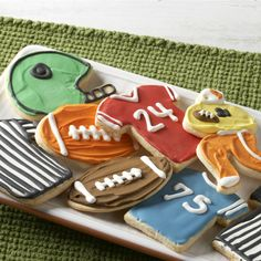Cheer your team on by decorating sugar cookies in the team's colors.
