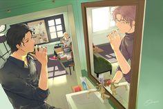 That mirror effect is really cool. Akai Shuichi/ Subaru Okiya with Furuya Rei. Magic Kaito, Detective Conan Shinichi, Detektif Conan, Kaito Kid, Gosho Aoyama, Amuro Tooru, Wattpad Stories, Case Closed, Subaru